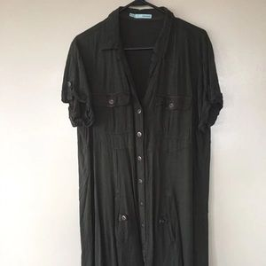 Maurices Army Green Button Down Dress XXL